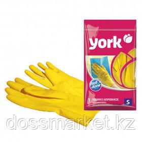Перчатки для уборки York, суперплотные, с х/б напылением, размер S, резина, желтые