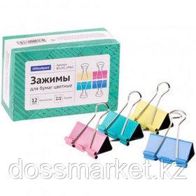 Зажимы для бумаг OfficeSpace, 41 мм, 12 шт., цветные
