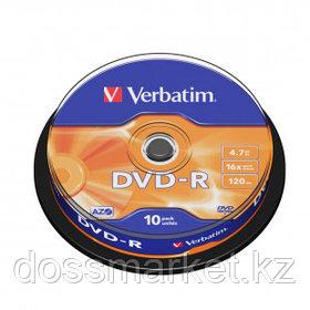 Диск DVD-R Verbatim, 4.7 GB, 16х, 10 шт/упак