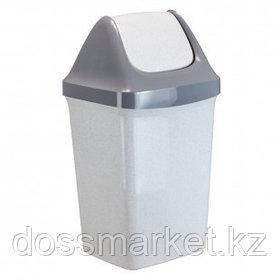 """Ведро-контейнер для мусора Idea """"Свинг"""", 15 л, качающаяся крышка, пластик, мраморный"""