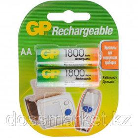 Аккумулятор GP 180AAHCRA, пальчиковые AA, Ni-MH, 1800 mAh, 1.2V, 2 шт, цена за упаковку