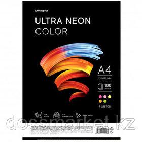 """Бумага OfficeSpace """"Ultra Neon Color"""", А4, 75 г/м2, 100 листов, 5 неоновых цветов"""