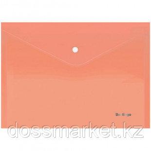 """Папка-конверт с кнопкой Berlingo """"Starlight"""", А4, 180 мкм, прозрачная, оранжевая"""