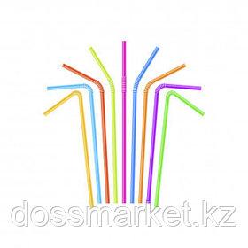 Трубочки для напитков, с изгибом, длина 26 см, диаметр 6 мм, ассорти, 100 шт./уп