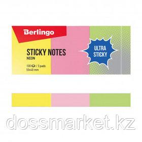 """Блок самоклеящийся 50*40 мм, Berlingo """"Ultra Sticky"""", 3 неоновых цвета, 300 листов"""