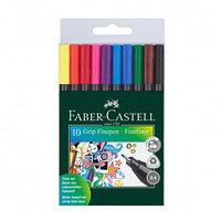 Ручка капиллярная Faber-Castell, 0.4 мм, 10 цветов, трехранная форма, антискользящая зона