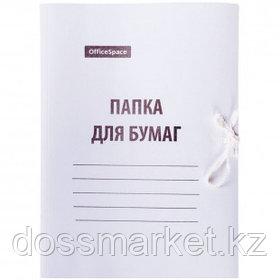 Папка с завязками OfficeSpace, А4 формат, мелованная, 440 г/м2, белая