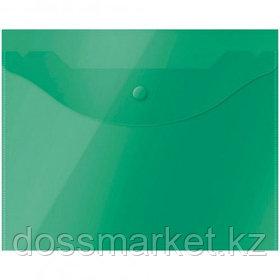 Папка-конверт с кнопкой OfficeSpace, А5, 150 мкм, полупрозрачная, зеленая