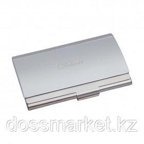 Визитница карманная Delucci на 15 визиток, металл, серебристая