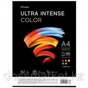 """Бумага OfficeSpace """"Ultra Intense Color"""", А4, 80 г/м2, 100 листов, 5 цветов, ассорти"""