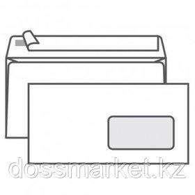 Конверт горизонтальный Гознак, формат Е65 (110*220 мм), белый, с окошком, отрывная лента
