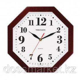 Часы восьмигранные Troyka, d=29 см, бордовые, пластиковые, минеральное стекло
