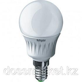 Лампа светодиодная Navigator NLL-G45, 5 Вт, 6500К, холодный белый свет, E14, форма шар