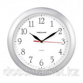 Часы круглые Troyka, d=29 см, серебристые, пластиковые