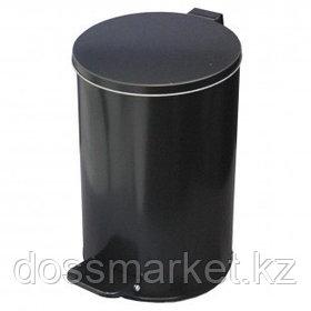 Ведро для мусора, 10 л, с педалью, оцинкованная сталь, черное