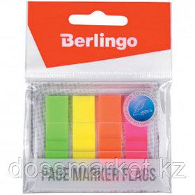 Закладки самоклеящиеся Berlingo, пластиковые, 45*12 мм, 4 цвета НЕОН, 80 листов, в диспенсере