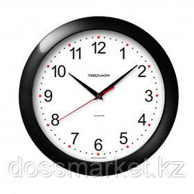 Часы круглые Troyka, d=29 см, черные, пластиковые
