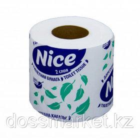 """Туалетная бумага рулонная """"Nice"""", 18,5 метра, 2-х слойная, 10 шт/уп, белая"""