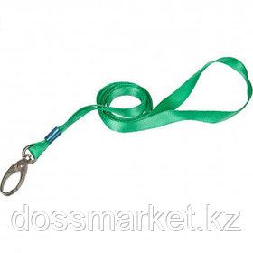Шнурок для бейджа Promega office, длина 88 см, на карабине, зеленый