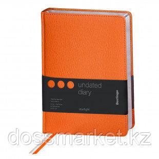 """Ежедневник недатированный Berlingo """"Starlight"""", A5, 160 л., серебряный срез, оранжевый"""