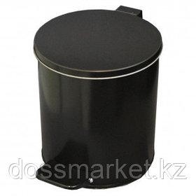 Ведро для мусора, 7 л, с педалью, оцинкованная сталь, черное