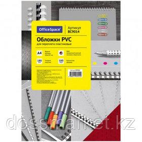 """Обложки для переплета пластиковые OfficeSpace PVC """"Кристалл"""", А4, 180 мкр, прозрачные красные"""