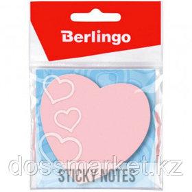 """Блок самоклеящийся фигурный Berlingo """"Сердце"""", 50 листов, 70*70 мм, НЕОН, малиновый"""