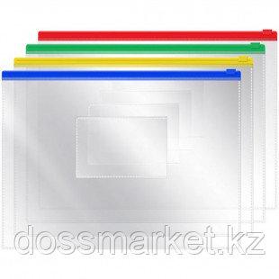 Папка-конверт Erich Krause, А4 формат, 140 мкм, Zip-Lock, прозрачная
