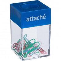 Диспенсер для скрепок Attache, магнитный, со скрепками 20 шт., ассорти