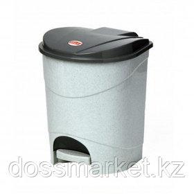 Ведро для мусора М-пластика, 19 л, пластик, мрамор+ внутреннее ведро с ручкой