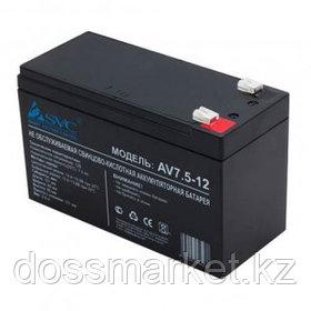 Аккумуляторная батарея SVC AV7.5-12, 12В, 7,5 Ач, размер 95*151*65 мм, черная