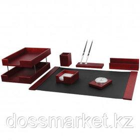Набор настольный Delucci, 7 предметов, красное дерево, часы