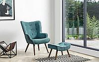 Кресло с оттоманкой Hygge, темно-бирюзовый/орех