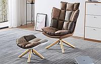 Кресло с оттоманкой в стиле Husk, коричневый пэчворк