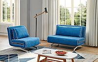 Комплект мягкой мебели Denny, лазурный/хром