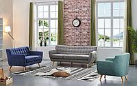 Комплект мягкой мебели Copenhagen, серый/синий/бирюзовый