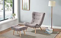 Кресло с оттоманкой Dolce Vita, серо-бежевый/натуральный