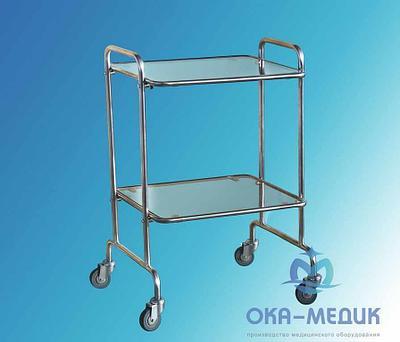 Столик медицинский Инструментальный СМи-5-«Ока-Медик» (стекло/стекло,меб кол.d50)
