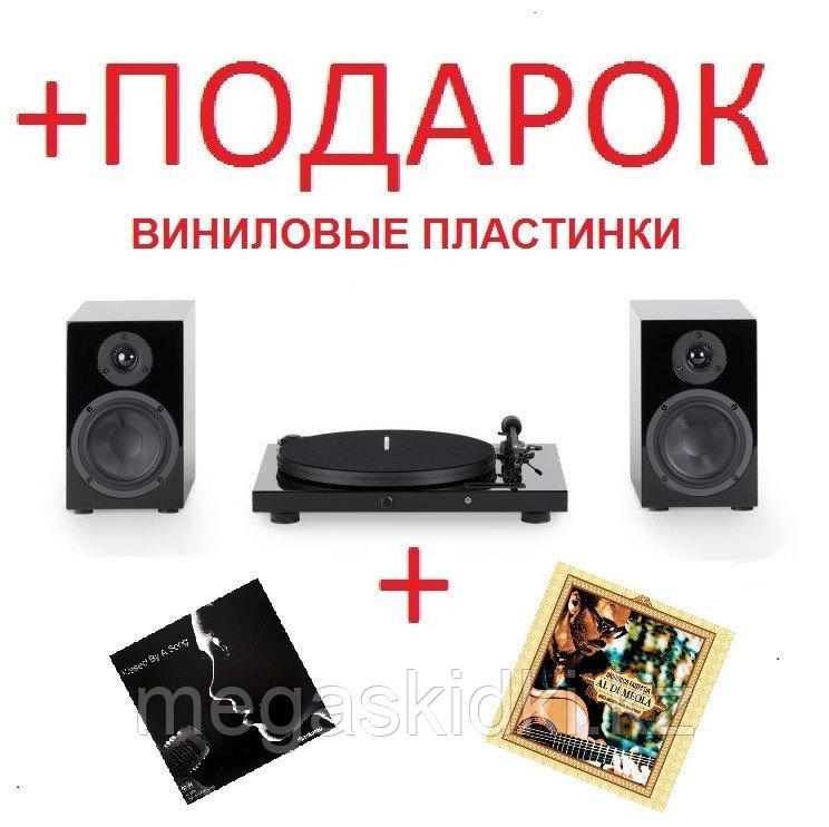 Виниловый проигрыватель с усилителем Pro-Ject Jukebox E+акустика Speaker Box 5 Черный лак