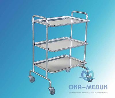 Столик медицинский предметный СМп-1-«Ока-Медик» (3 нерж. полки, меб колеса d.50)