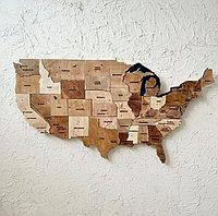 Карта США (Map of USA) из дерева