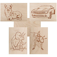 Доски для выжигания REXANT, «Набор №1» (воин/динозавр/собака/машина/без рисунка), 148х210 мм (А5), 5 шт.,