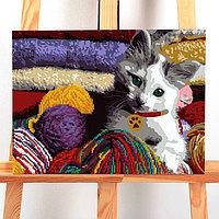 """Алмазная вышивка с частичным заполнением, раскраска без подрамника """"Кот"""", 30 х 40 см"""