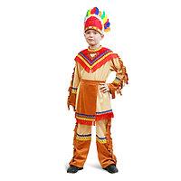"""Карнавальный костюм """"Индеец"""" для мальчика, куртка, брюки, фартук, головной убор, р. 38, рост 146 см"""