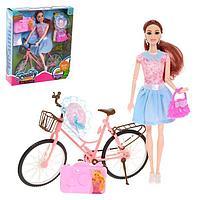 Кукла шарнирная «Юля» на велосипеде, с аксессуарами