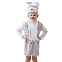 """Карнавальный костюм """"Зайчик серый"""", шапка, жилет, шорты с хвостом, 3-5 лет, рост 104-116 см 461508"""