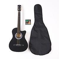 Набор для начинающего гитариста, чёрный: акустическая гитара, чехол, струны, медиаторы