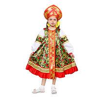 Русский народный костюм для девочки «Рябинка», платье, кокошник, р. 32, рост 122-128 см