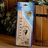 Термометр для бани и сауны деревянный, с картинкой, до 150°C, 26,5×11 см, МИКС