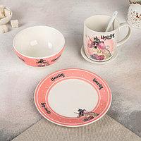 """Набор посуды 5 предметов """"Единорог"""" тарелка 18 см, миска 12,5×7 см, кружка 300 мл, ложка, маленькая тарелка"""